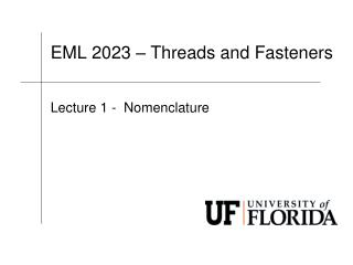 EML  2023 – Threads and Fasteners
