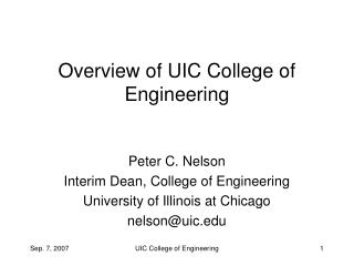 Overview of UIC College of Engineering