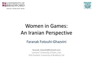 Women in Games:  An Iranian Perspective