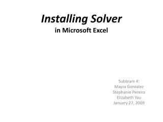 Installing Solver in Microsoft Excel