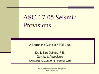 ASCE 7-05 Seismic Provisions