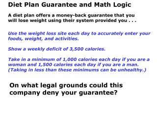 Diet Plan Guarantee and Math Logic