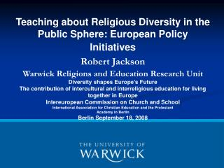 Teaching about Religious Diversity in the Public Sphere: European Policy Initiatives