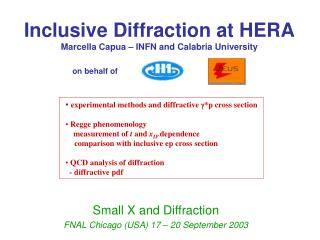 Inclusive Diffraction at HERA Marcella Capua – INFN and Calabria University