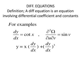 Order of a diff. equation