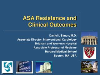 ASA Resistance and Clinical Outcomes