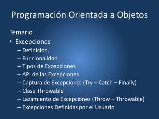 Programaci�n Orientada a Objetos