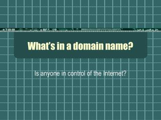 What�s in a domain name?