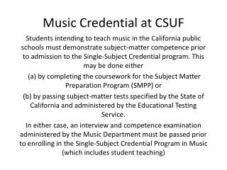 Music Credential at CSUF