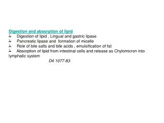 Digestion and absorption of lipid ط  Digestion of lipid , Lingual and gastric lipase