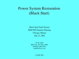 Power System Restoration (Black Start)