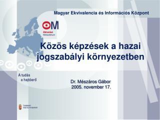 Közös képzések a hazai jogszabályi környezetben Dr. Mészáros Gábor  2005. november 17.