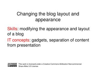 Changing the blog layout and appearance