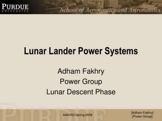 Lunar Lander Power Systems