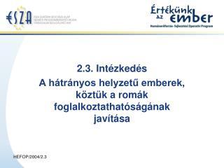 2.3. Intézkedés  A hátrányos helyzetű emberek, köztük a romák foglalkoztathatóságának javítása
