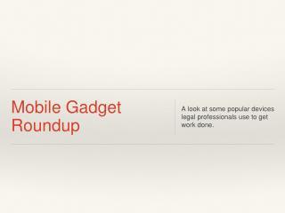 Mobile Gadget Roundup