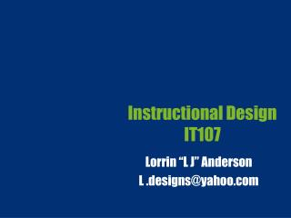 Instructional Design IT107