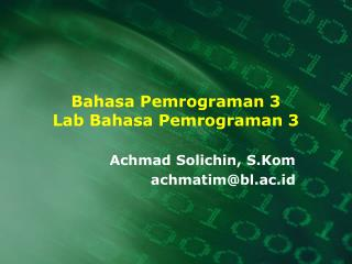 Bahasa Pemrograman 3 Lab Bahasa Pemrograman 3