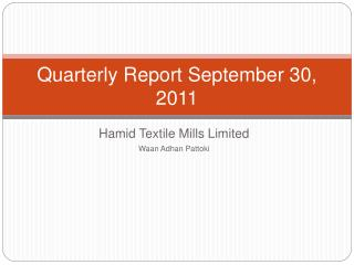 Quarterly Report September 30, 2011