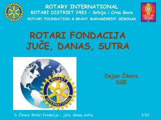ROTARY INTERNATIONAL ROTARI DISTRIKT 2483 – Srbija i Crna Gora