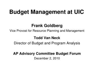 Budget Management at UIC