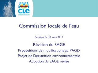 Commission locale de l'eau Réunion du 18 mars 2013