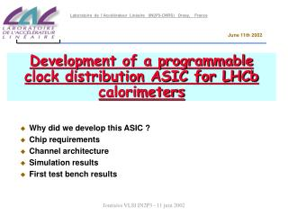 Development of a programmable clock distribution ASIC for LHCb calorimeters