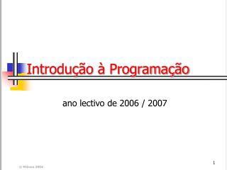 Introdução à Programação
