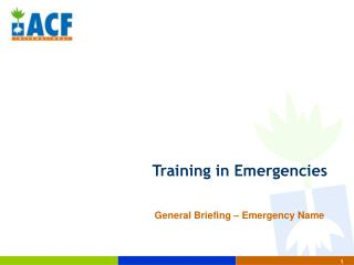 Training in Emergencies