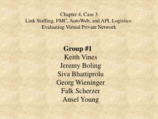Chapter 4, Case 3 Link Staffing, FMC, AutoWeb, and APL Logistics: Evaluating Virtual Private Network