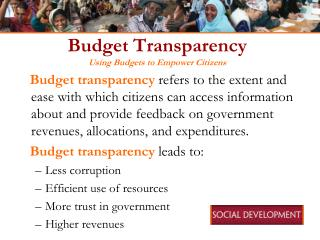Budget Transparency Using Budgets to Empower Citizens