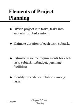 Elements of Project Planning