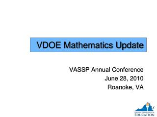 VDOE Mathematics Update