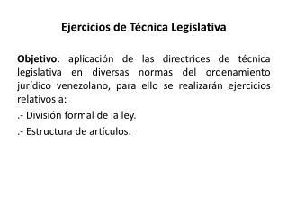 Ejercicios de Técnica Legislativa