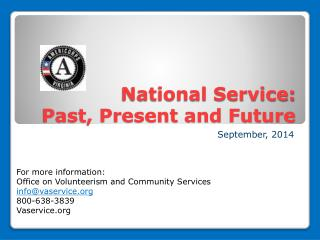 National Service:   Past, Present and Future