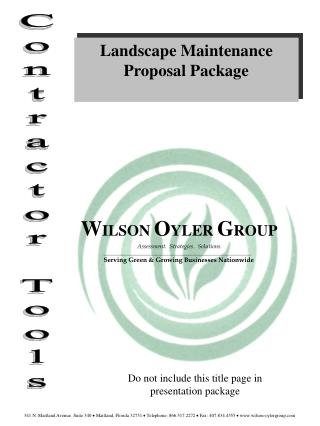 Landscape Maintenance Proposal Package