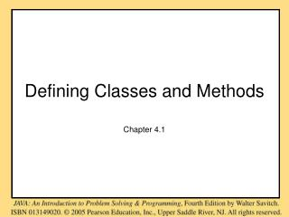 Defining Classes and Methods