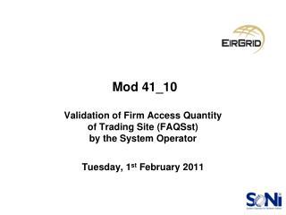 Update Since November 2010 Mods Meeting