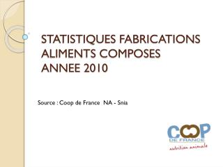STATISTIQUES FABRICATIONS ALIMENTS COMPOSES  ANNEE 2010