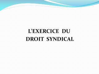 L�EXERCICE  DU   DROIT  SYNDICAL