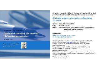 Pozvánka na seminář Obchodní smlouvy dle nového občanského zákoníku 18. června 2013