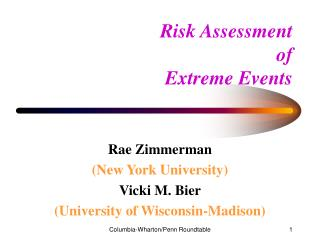 Risk Assessment  of  Extreme Events