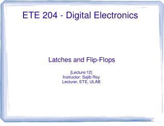 ETE 204 - Digital Electronics