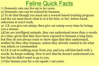 Feline Quick Facts