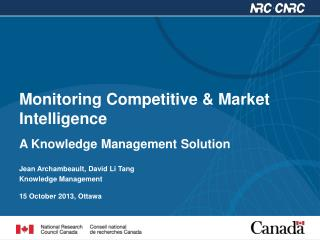 Monitoring Competitive & Market Intelligence  A Knowledge  Management Solution