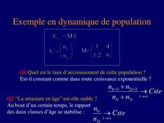 Exemple en dynamique de population