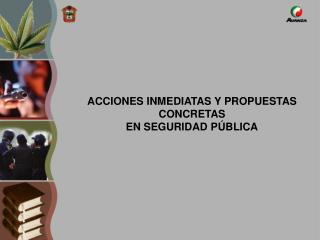 ACCIONES INMEDIATAS Y PROPUESTAS CONCRETAS  EN SEGURIDAD PÚBLICA