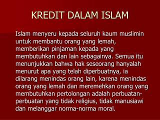 KREDIT DALAM ISLAM