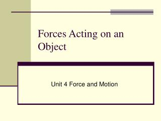 Forces Acting on an Object