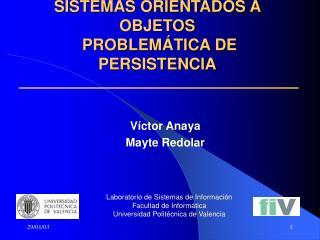 SISTEMAS ORIENTADOS A OBJETOS  PROBLEMÁTICA DE PERSISTENCIA